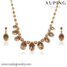63907 Xuping Luxury Drop Crystal Wedding Bridal Rhinestone Jewelry Set