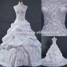 Embrodery com handmad beadings vestido de noiva