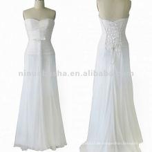 NY-1563 Rüschende Mieder mit rohem, kantigem Bias-Streifen-Hochzeitskleid