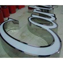Signes de lettre éclairés par LED en acier inoxydable en métal de soudure de bord de la boutique 3D de signalisation