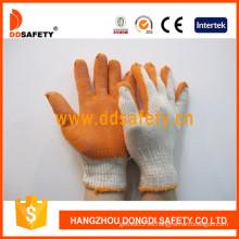 Guantes de punto, guantes de látex naranja acabado liso (DKL312)