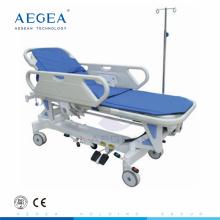 Camilla mecánica ajustable del transporte eléctrico del hospital de la ambulancia de la aleación AG-HS009 con la manija cpr