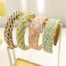 Bandeau hairband Fashion hair band Straw Braid Plain Colorful Plaid Sponge Designer Headband for Women Girl
