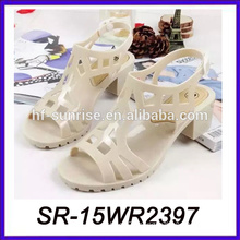 nude high heel pvc sandals jelly shoe pvc shoe