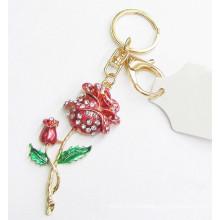 China venta al por mayor cadena de llavero de metal 3d llavero de flores para regalo de amante 2015