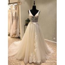 V Neck Lace Beading vestido de casamento de baile de noite
