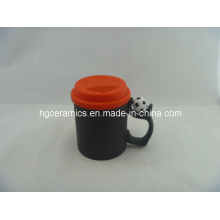 Tasse magique à la pomme de football 11 oz avec couvercle en silicone