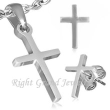 New Jewelry Set Necklace Pendant Earring Studs Stainless Steel Cross Jewelry Set