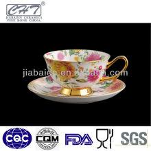 Taza caliente y platillo de té caliente del borde del oro de China de hueso de la venta