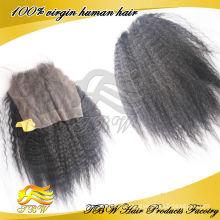 Fermeture de dentelle bon marché Kinky droite cheveux vierges péruviens