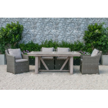 ALAND COLLECTION - Hot trendy UV resistance Wicker PE Rattan Dining set table and 6 chairs Outdoor Garden Furniture
