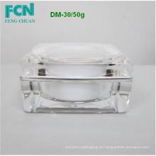 Plástico de acrílico cosméticos cuadrados jar crema ronda cuidado de la piel de primera calidad