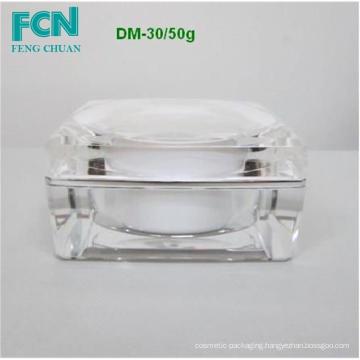 Plastic acrylic cosmetic square jar cream round skin care top quality