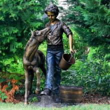 открытый металлический бронзовый мальчик сад фонтан с статуи пони
