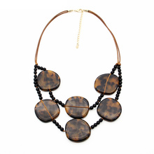 Wholesale turtle shell acrylic beads chain for women acrylic resin long leopard necklace