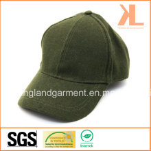 Polyester & Wool Quality Warm Plain Green Baseball Cap