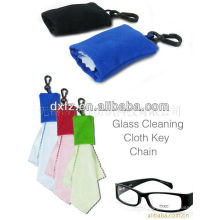 microfiber glass cleaning cloth with keychain/ microfiber cloth for promotion