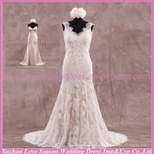 LS6005 Qualidade de tecido melhor feito à mão Alibaba de ponta alta vestido de noiva vestido de casamento vestido de noiva sexy vestido de noiva real sem mangas