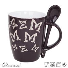 Mug 11oz avec cuillère avec motif papillon gravé