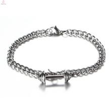 Benutzerdefinierte neue Silberkette Edelstahl Schmuck Barbell Hantel Gym Armband