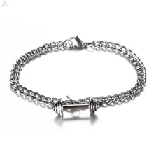 Custom New Silver Chain Stainless Steel Jewelry Barbell Dumbbell Gym Bracelet