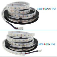 A tira 5050 60LED / m 5M do diodo emissor de luz de DC12V RGBW conduz a cor da fita 4 em IP67 impermeável