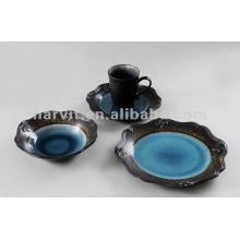 16pcs Embossed and Reactive Vaisselle en céramique portugaise espagnole portugaise Corelle Vaisselle