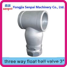 Válvula de esfera flutuante de três vias / Válvula de flutuação Y-curvada