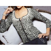 Ladies′ Cashmere and Silk Cardigan with Printings Hm-Sw09005