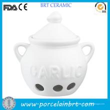 Venta al por mayor Custom White Ceramic Garlic Pot