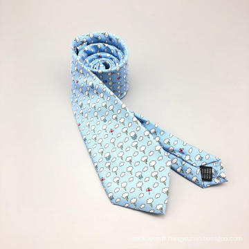 Cravate faite sur commande d'impression faite sur commande de soie avec l'emboutage d'individu