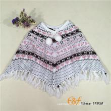 Fashion Cotton Acrylic Jacquard Girl's Sweater Cloak Tippet