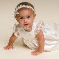 White Satin Flower Toddlers Dresses with Hat Western Baby Girls Infant Baptism Dress