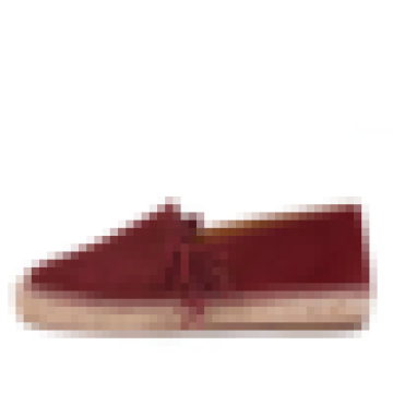 Burgundy flock leather fringe espadrille flats handmade jute rubber sole