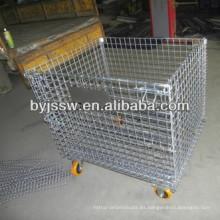 Contenedor plegable de paletas de malla de alambre de acero