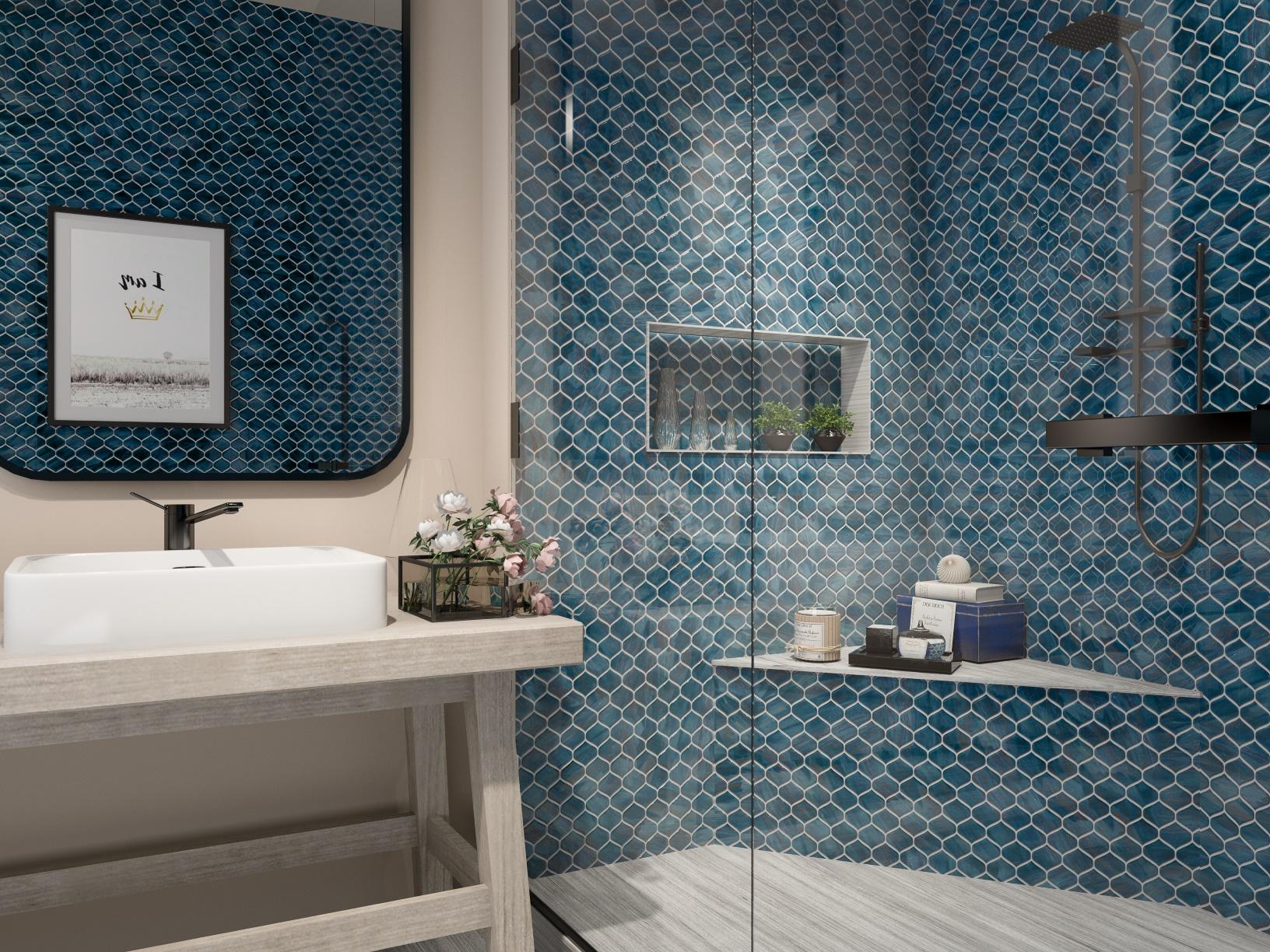 Arabesque Malachite Green Bathroom Tile