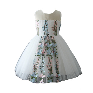 Fashion Handmade Decoration Flower Girls Boutique Clothing Sleeveless Dress