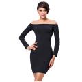 Kate Kasin Sexy Women's Solid Color Long Sleeve Black Off Shoulder Dress KK000224-1