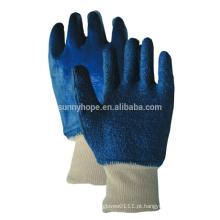 Forro de toalha Luvas totalmente revestidas de nitrilo azul