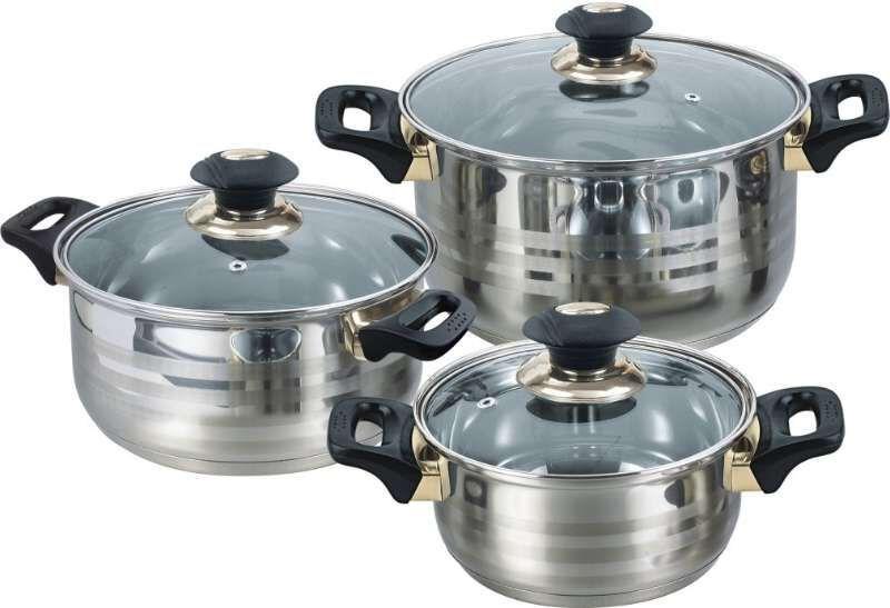 6pcs gold plated saucepot cookware set