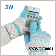 Fashion Hot Sell Women′s Floral Smartphone Wool Touch Gloves (SNWTG0001)