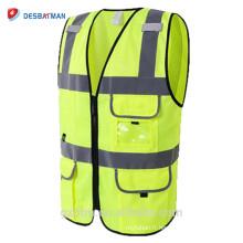 Gilets de sécurité de sécurité maille respirante jaune Gilets de sécurité de haute visibilité classe 2 ANSI de haute qualité avec beaucoup de poches