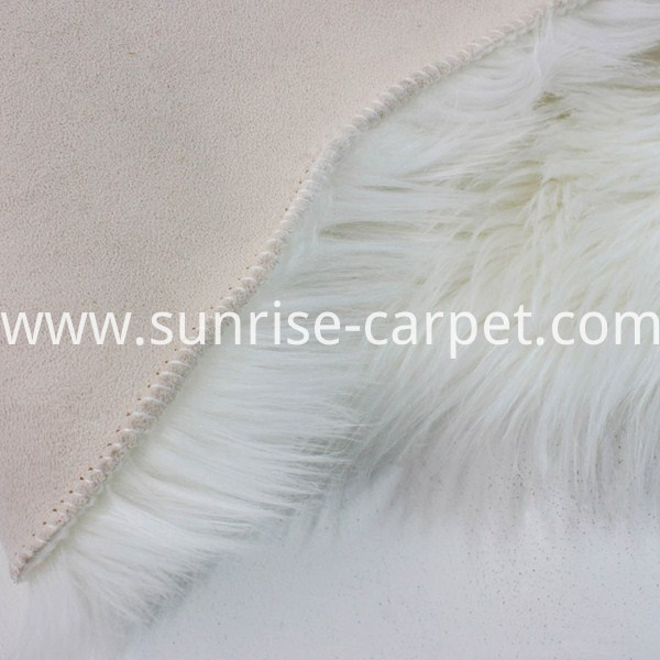 Backing of Faux Furs Rug flooring home deco white color