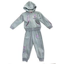 moda menina ′ S casaco, casaco com capuz em torno do pescoço com calça, conjuntos de fatos de desporto Swg-103