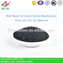 Precio del fabricante de carbón activado a base de madera por tonelada para medicamentos