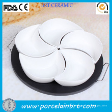 Unique Black Platter White Food Serving Ceramic Dishes