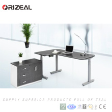 Automatic office furniture dual motor-driven electric adjustable height desk with lifting column