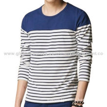 Men's Long Sleeves T-Shirts, Made of 100% Cotton Stripes, Blue Yoke, Accept OEM ServiceNew