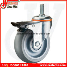 Medium Duty Gray TPR Rubber Swivel Casters with Brake