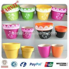 Pot de fleurs vitrées en céramique, pot de pot de craie à carreaux, pot de fleurs en céramique de jardin de Singapour